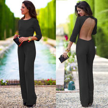 Meture Style Polyester And Spandex Fabric Women Backless Casual Long Jumpsuits