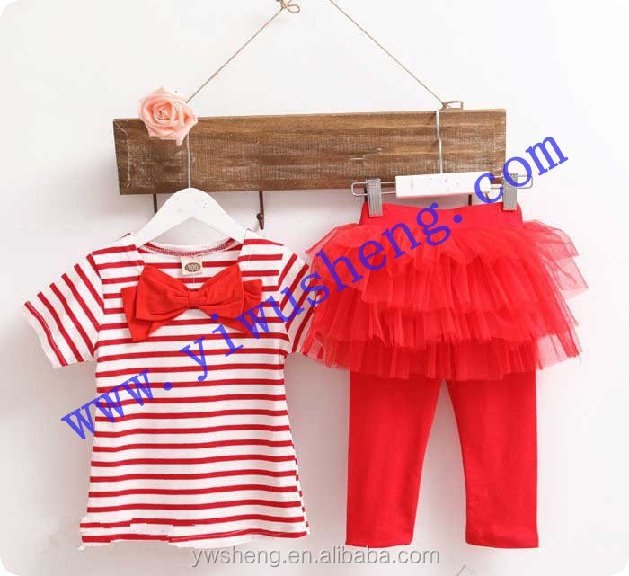 Hot sell white and red stripe baby girl clothing ,autumn kid clothes with tutu skirt