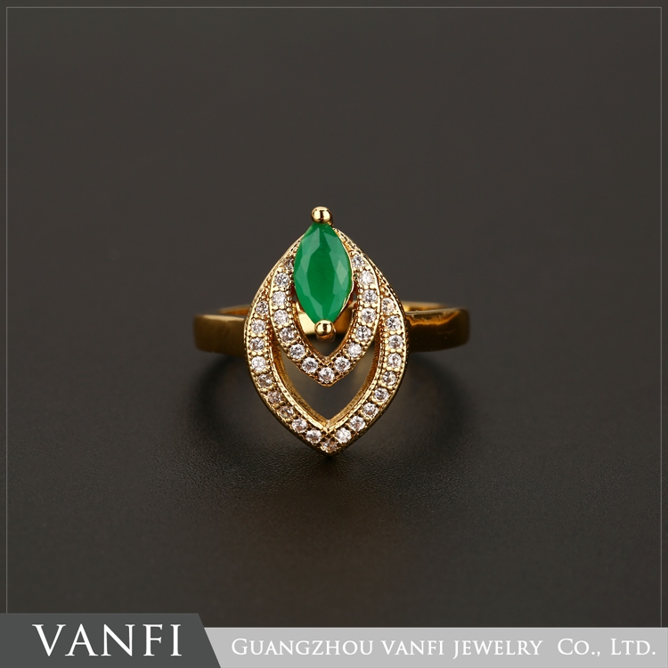 Wholesale Fashion Jewelry Green Gemstone 18K Gold Plated Ring For Women