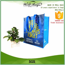 custom webbing handle full color matte lamination blue non woven reusable shopping bag