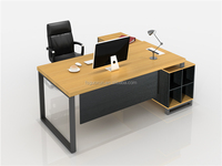 Guoxun Hotsale Office Desk Executive Secretary Furniture with material leg and long side cabinet General Manager Table