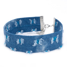 Blue distress jean leather choker necklace for women made in China stock