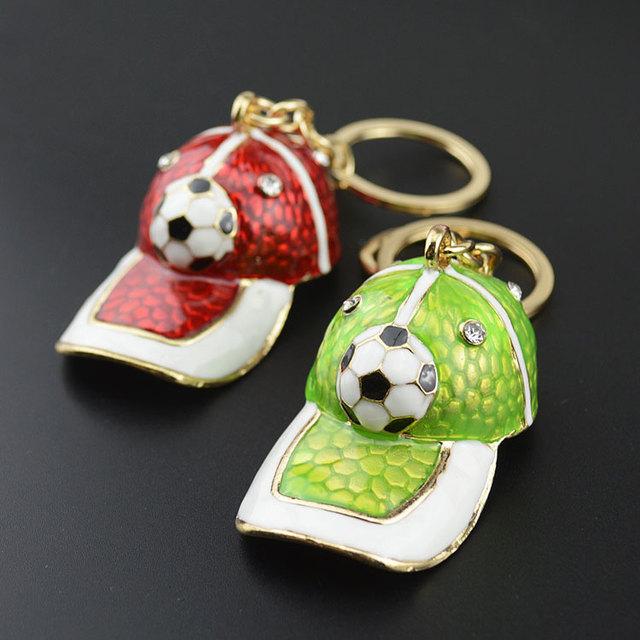 2018 World cup crystal soccer metal key chain maker Sports cap shape keychain custom logo