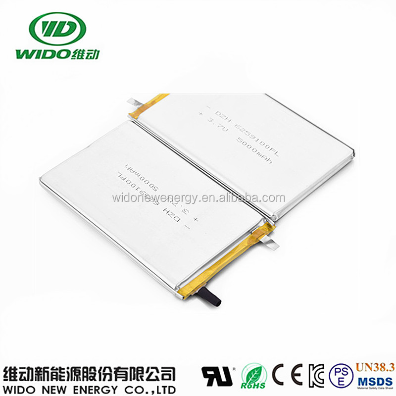 rechargeable lipo battery 6259100 3.7v 5000mah tablet pc battery with UL