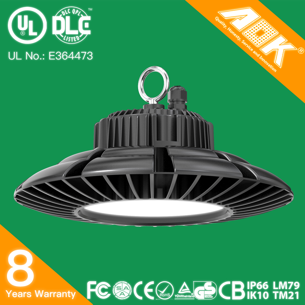 UL DLC SAA CE RoHS IP65 UFO LED High Bay Light Replacement of 250W HPS with Motion Sensor