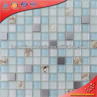 White and Blue Ocean Color Glass Tiles Art With Resin Mother of Pearl and Stainless Steel Chips (KS16)