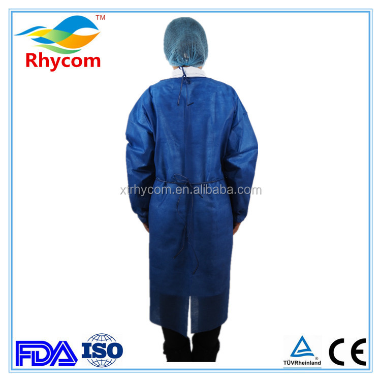 blue SMS waterproof reinforced disposable hospital surgical gown