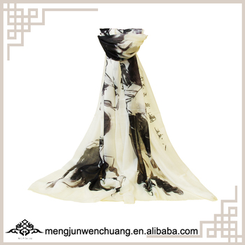 90*220cm Bestselling Unique Designed Print Soft Wool Scarf from Inner Mongolia