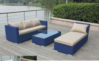 aluminum mesh fabric lounge sofa patio furniture blue and white