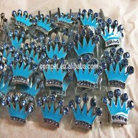 Produce & Wholesale 10mm Light Blue Enamel Slide Crown Charm