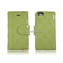 wholesale simple style pu case for iphone 5 leather case checkered pattern OEM/ODM