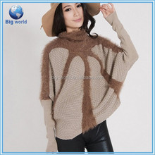 Bigworld Mohair Liberal-Collar design knitting pullover,batwing top sweater for ladies,woolen sweaters OEM services