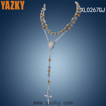 Religious design 316L stainless steel two tone plated beads chain necklace with plate and cross pendant