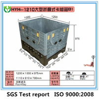 Euro Standard Foldable PE Container Plastic Box Pallet with Wheels