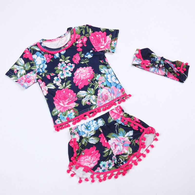 Full Printed Flower Export Baby Clothes For 1st Birthday Baby Girl Outfit Shirt Set Kids Girls Summer