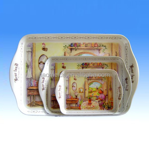 3 pcs handled melamine tray set