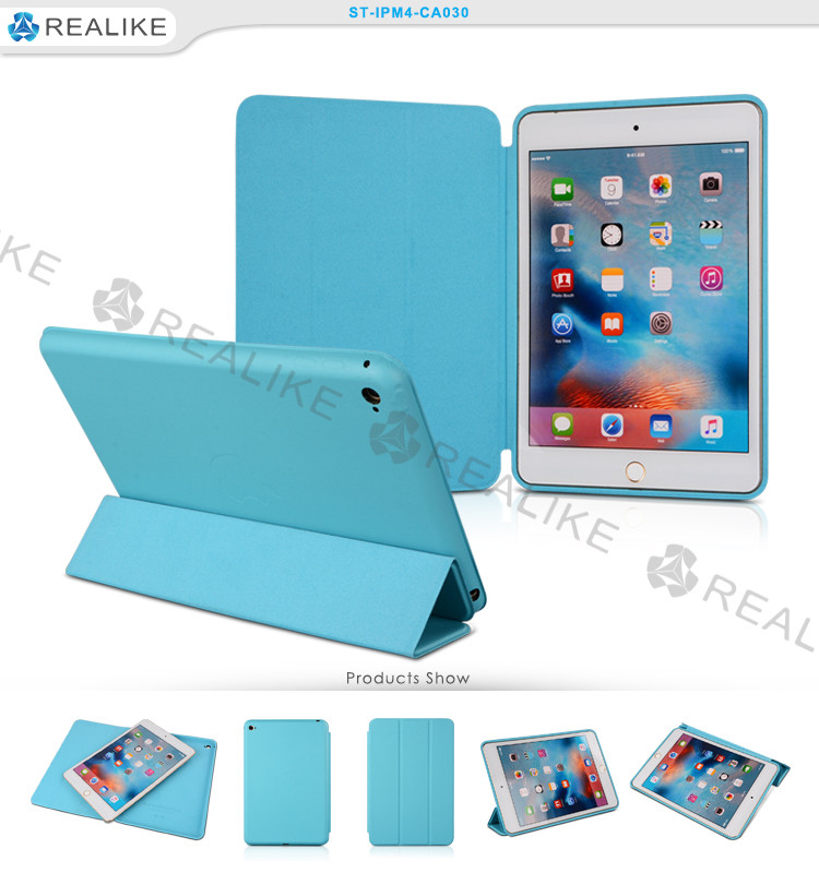 Three fold stand leather smart case for ipad mini 4 9.7 inch