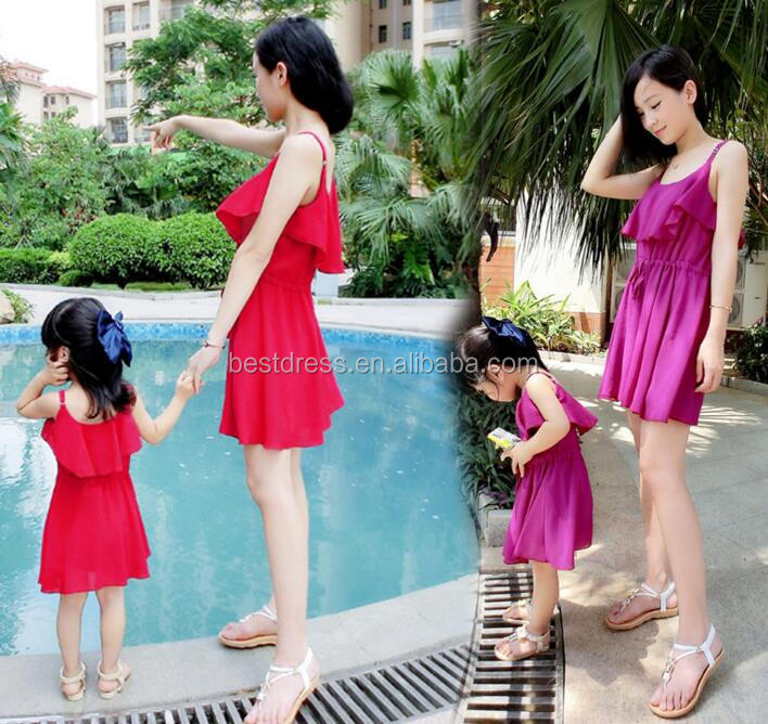 Mother Daughter Women Girls Summer beach Dress Family Matching Outfits Clothes