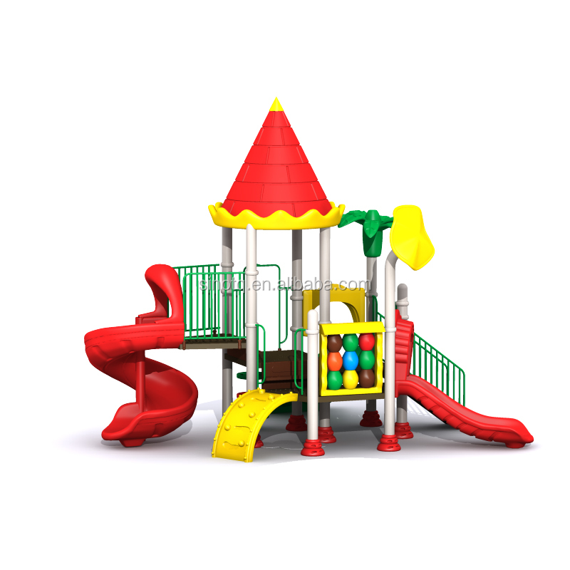 Children outdoor playground cheap amusement park items kids play area LLDPE LE plastic slide