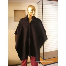 Black Wool Poncho with Neck HandWoven Unisex