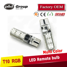 Car Styling RGB remote control Interior strobe lights ,car led bulb RGB t10 194 w5w color changing,t10 led bulb