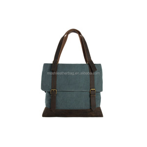 Heavy Canvas Tote Bag With Leather Handle