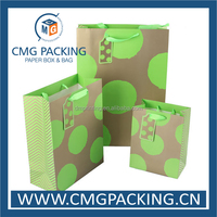 recycled low cost gift paper bag green printing
