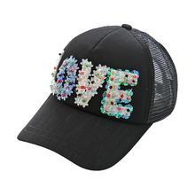 Newest Design Fashion 5 Panel Mesh Trucker Hat Flower Rhinestone Visor Snapback Cap With 3D Acrylic Letters Love