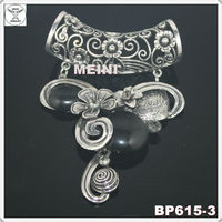 2013 fashion antique silver charm scarf pendant with black stones