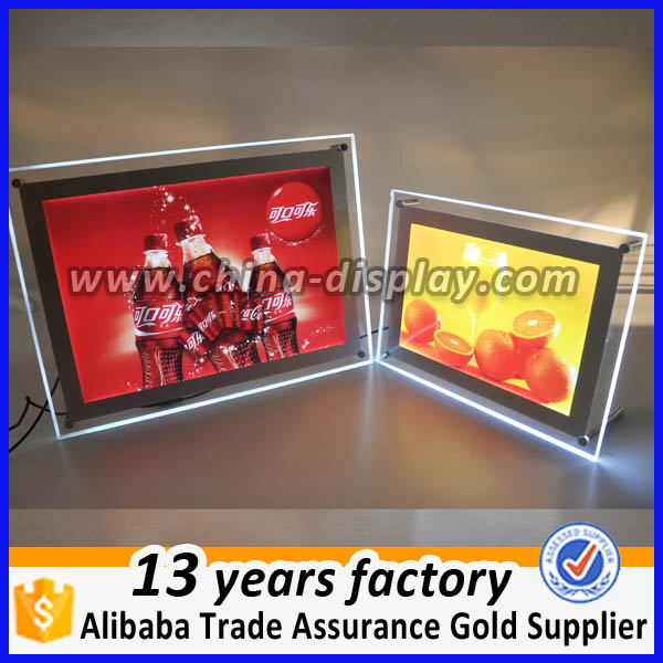 Restaurant display acrylic crystal light box sign counter top led menu