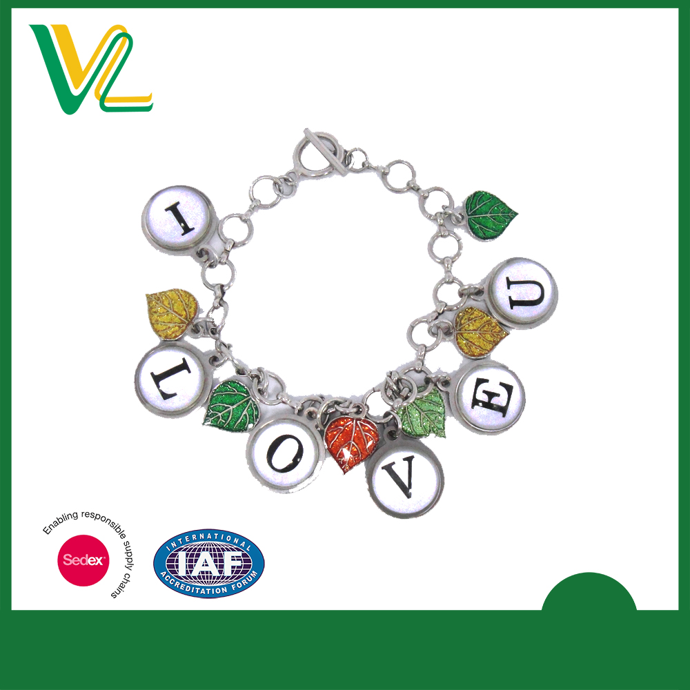 Customized trendy Metal Love Nickel T buckle Accessory Bracelet