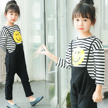KS11151G Elder girls simple emoji print two piece overalls set latest girl fall boutique clothes