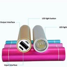 led flashlight tube handy power bank charger 2600 for Smartphone