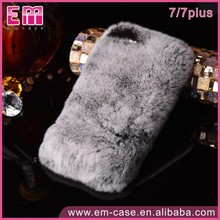 Women Lady Warm Fur Phone Case Cover For iPhone 7 Plush Hair Fluffy Rabbit Fur Case for iPhone 7 7 Plus