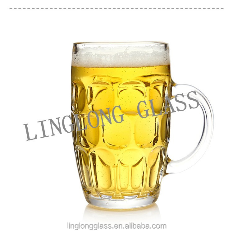 Glass beer/juice mug cup drinking glass with handle
