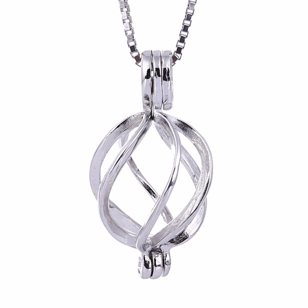 Wholesale Love Wish Pearl S925 Jewelry locket Sterling Silver Helix Twisted Cage Pendant