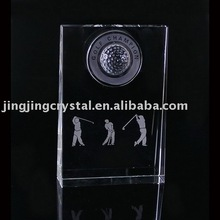 New Design 3d laser Crystal Golf Plaque In Crystal Crafts (BP-004)