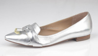 2016 popular shiny silver fancy shoes for girls,fancy pointed toe shoe wholesale