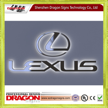 stainless steel car logo , led logo light