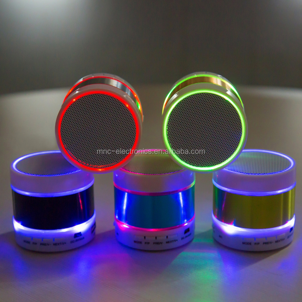 Cheap promotional gift custom branded logo printing colorful LED light mini bluetooth speaker with FM radio