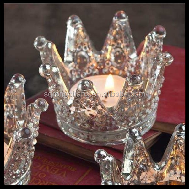 crown shaped glass Votive Candle Holders colored