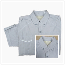summer new men's solid color casual dress woven shirt