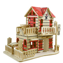 Cheap kids happy DIY toy 3D wooden puzzle toy wooden kid kraft doll house