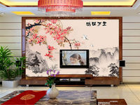 fashion sofa background wall mural design non-woven material