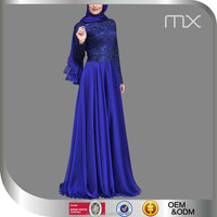 Royal blue colour dress new fashion chiffon maxi dresses with lace pakistani ladies dresses muslim wedding gown designer abaya