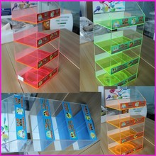 Cool 8 Bins Rotating USB Cables Home/Car/Wall/Travel Chargers Display Stand Wholesale Acrylic Portable Cellphone Charger Box