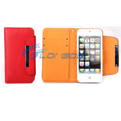 For iPhone 5 Wallet Leather Case , Wholesale Mobile Phone PU Leather Flip Cover Wallet Case for iPhone 5