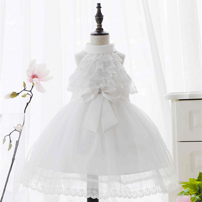High scale fashion white sleeveless embroidered wedding party birthdaykids girls dress