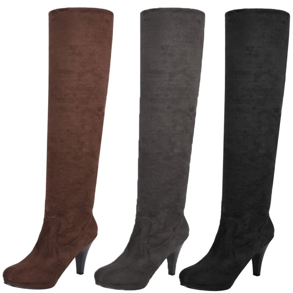 Zeagoo Fashion Women Over Knee Thigh High Stiletto Heel Platform Stretch <strong>Boot</strong> Size 36-39
