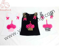 Cute girl flower cupcake t shirt, baby birthday sleeveless t-shirt, summer baby clothes